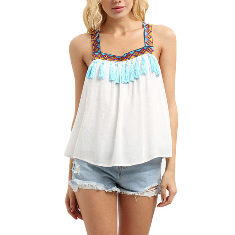 White Fringe Decorated Sleeveless Blouses