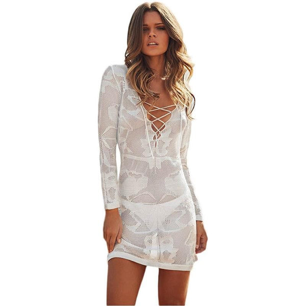 White Long Sleeve Lace Cross Front Knitted Summer Dress - Chic128