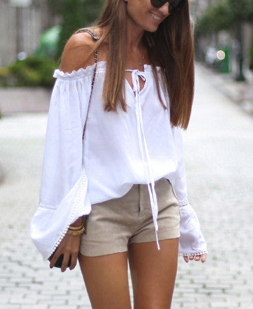 White Long Sleeve Style Off The Shoulder Blouses - Chic128