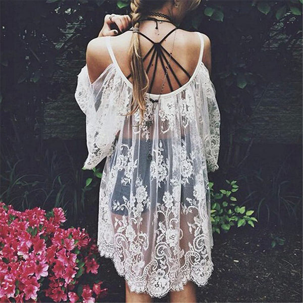 Women Cover Up Sexy Strap Sheer Floral Lace Beach Embroidered Crochet
