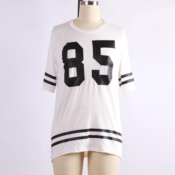 Women Fashion Sport Baseball Patchwork Loose Print Tops