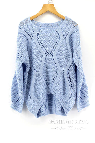 Women Long Sleeve Hollow Out Sweater - Chic128