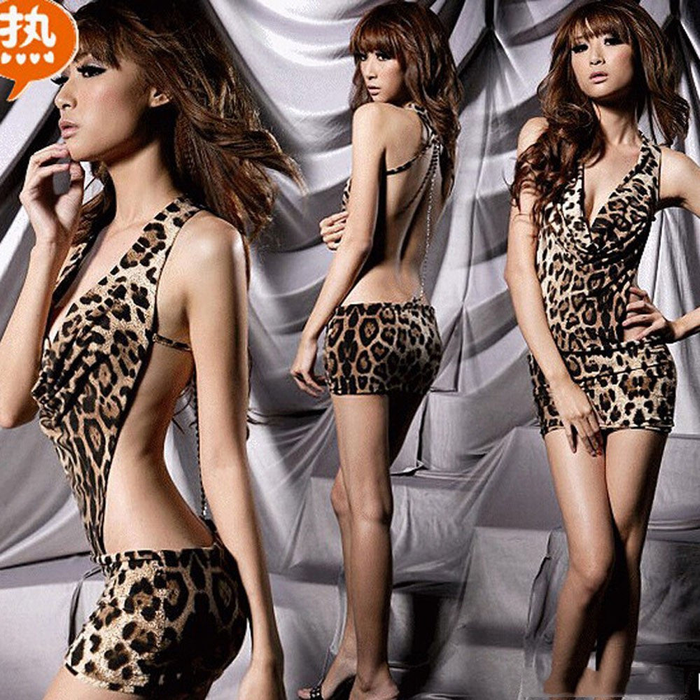 Women Sexy Lingerie Backless Leopard Dress Evening Sexy Sleepwear