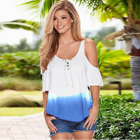 Women Short Sleeve Off Shoulder Sexy Tops - Chic128