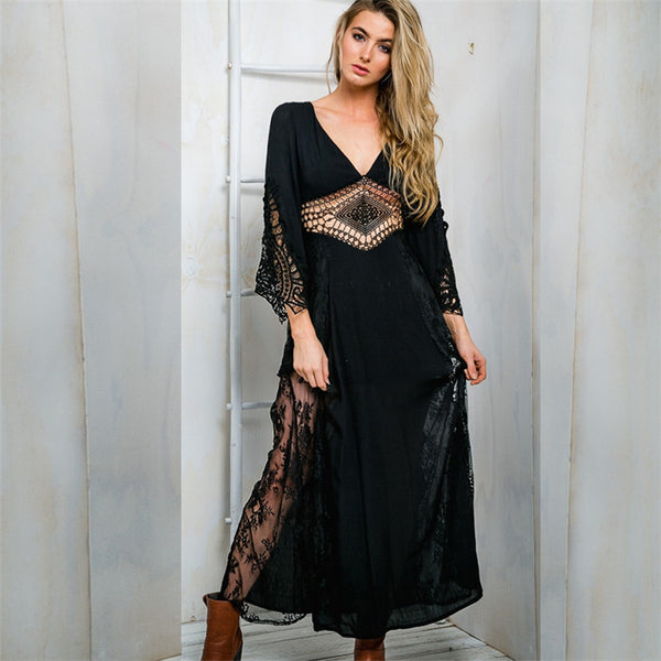Women Vintage Ethnic Lace Chiffon Casual Long Maxi Dress