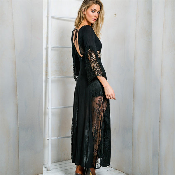 Women Vintage Ethnic Lace Chiffon Casual Long Maxi Dress - Chic128