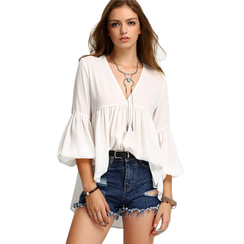 Women White V Neck Three Quarter Length Sleeve High Low Pleated Blouse