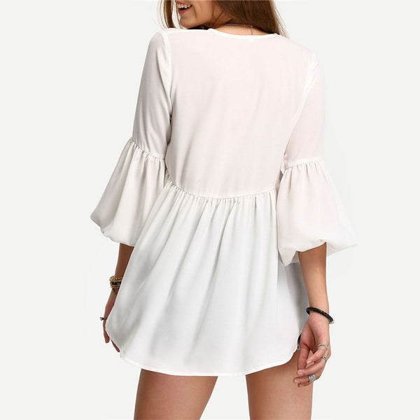 Women White V Neck Three Quarter Length Sleeve High Low Pleated Blouse - Chic128