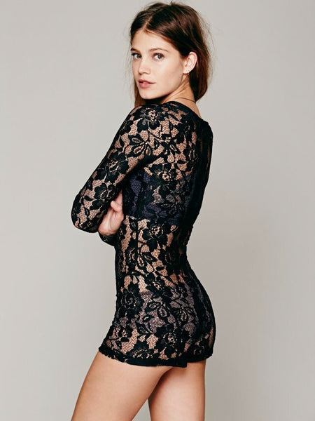 Women's Brand Sexy Design Black Lace Jumpsuits - Chic128