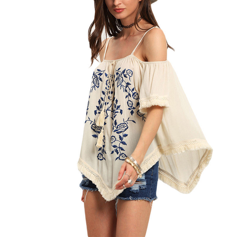 Women's Casual Beach Apricot Cold Shoulder Top - Nest of Design