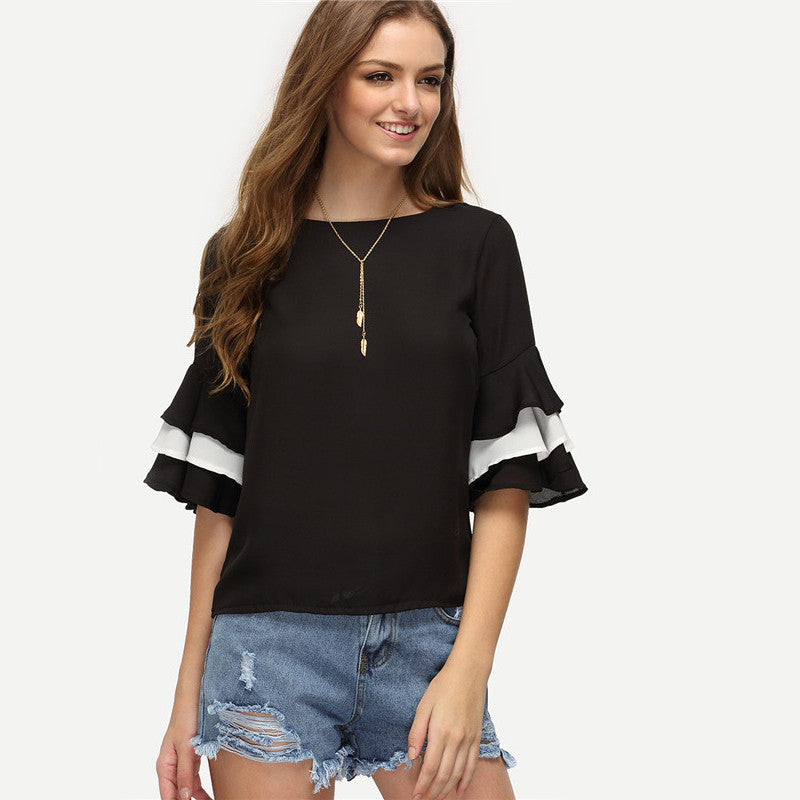 Women's Casual Half Sleeve Keyhole Back Color Block Slim Blouse