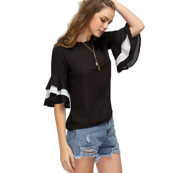 Women's Casual Half Sleeve Keyhole Back Color Block Slim Blouse - Chic128