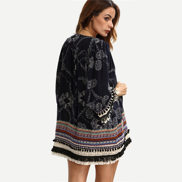 Women's Multicolor Print Fringe Pom-pom Decorated Kimono - Chic128