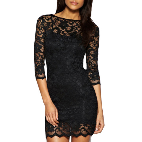 Women's Sexy Long sleeve Black Lace Slim Bodycon - Chic128
