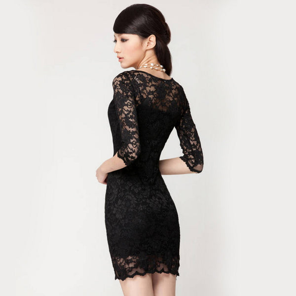 Women's Sexy Long sleeve Black Lace Slim Bodycon
