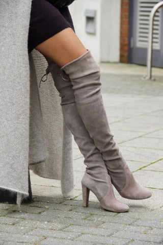 Grey Round Toe High Chunky Over-The-Knee Boots - Chic128