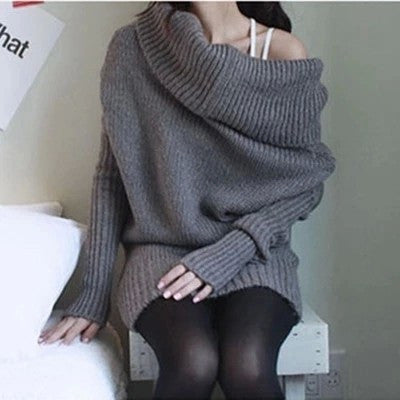 long-sleeved high-necked women sweater - Chic128