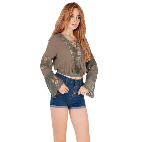 Sexy Hollow out Short Blouse - Chic128