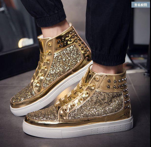 Casual footwear Gym Cross-trainer Tennis Shoe Skateboarding Sneakers Shoes Gold Outdoor Athletic Sport Shoes Chelsea Shoes Lace-up Sapatos for men and women size from 5-10 - Chic128