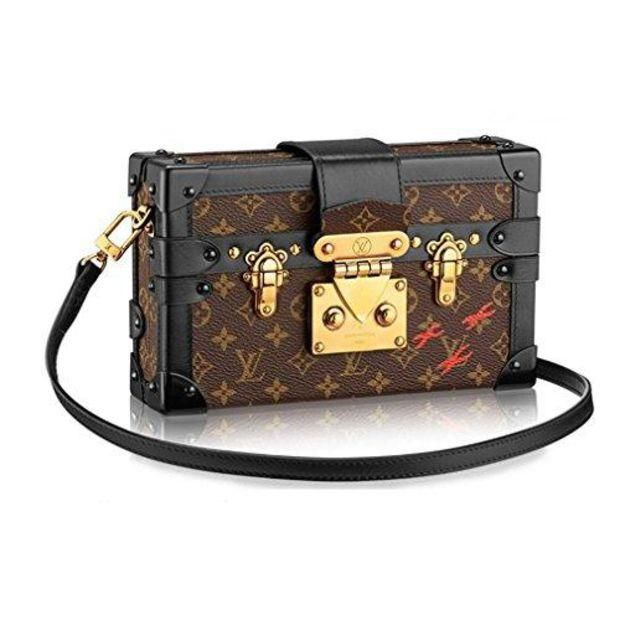 LV Women Shopping Leather Louis Vuitton Monogram Canvas Petite Malle Leather Strap Handbag Article: M40273 Made in France - Chic128