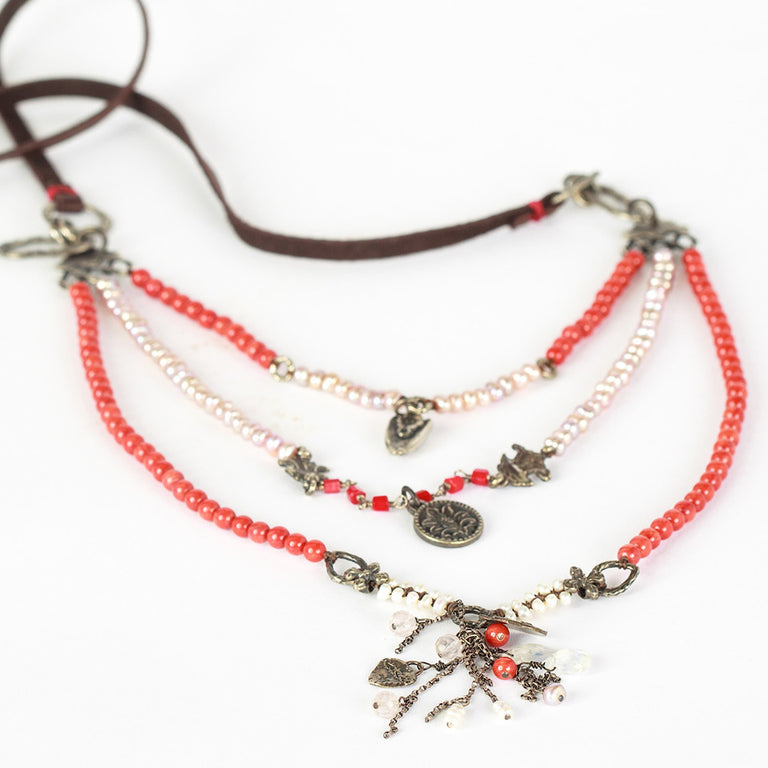 Love Heals Coral and Freshwater Pearl Necklace