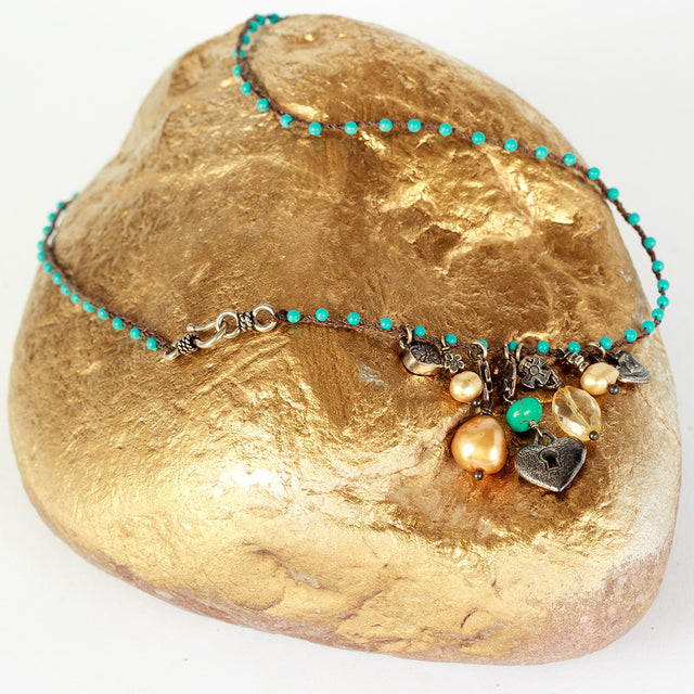 Love Heals Turquoise and Champagne Pearls Necklace