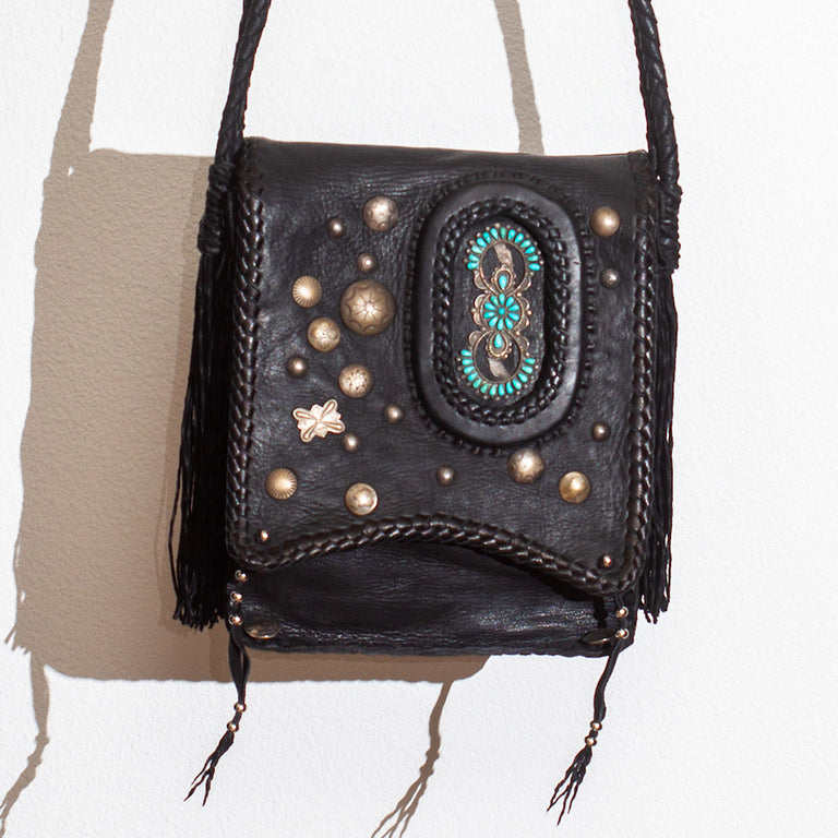 Peyote Bird Navajo Bag With Sterling Silver and Turquoise