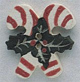 86197 Double Holly Candy Canes, Mill Hill Beads
