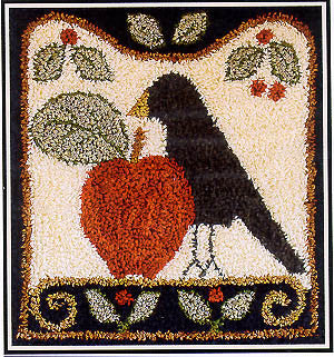 Folk Art Crow, Punchneedle, Little House Needleworks