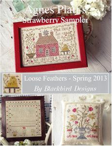 Agnes Platt's Strawberry Sampler, Loose Feathers, Blackbird Design