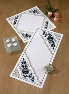 107845 Black Floral-Hardanger Table Mat