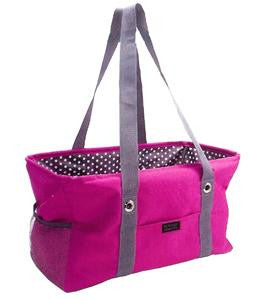 Large Utility Tote-Pink & Black with Polka Dots