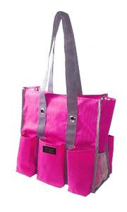 Shoulder Tote-Pink & Black with Polka Dots