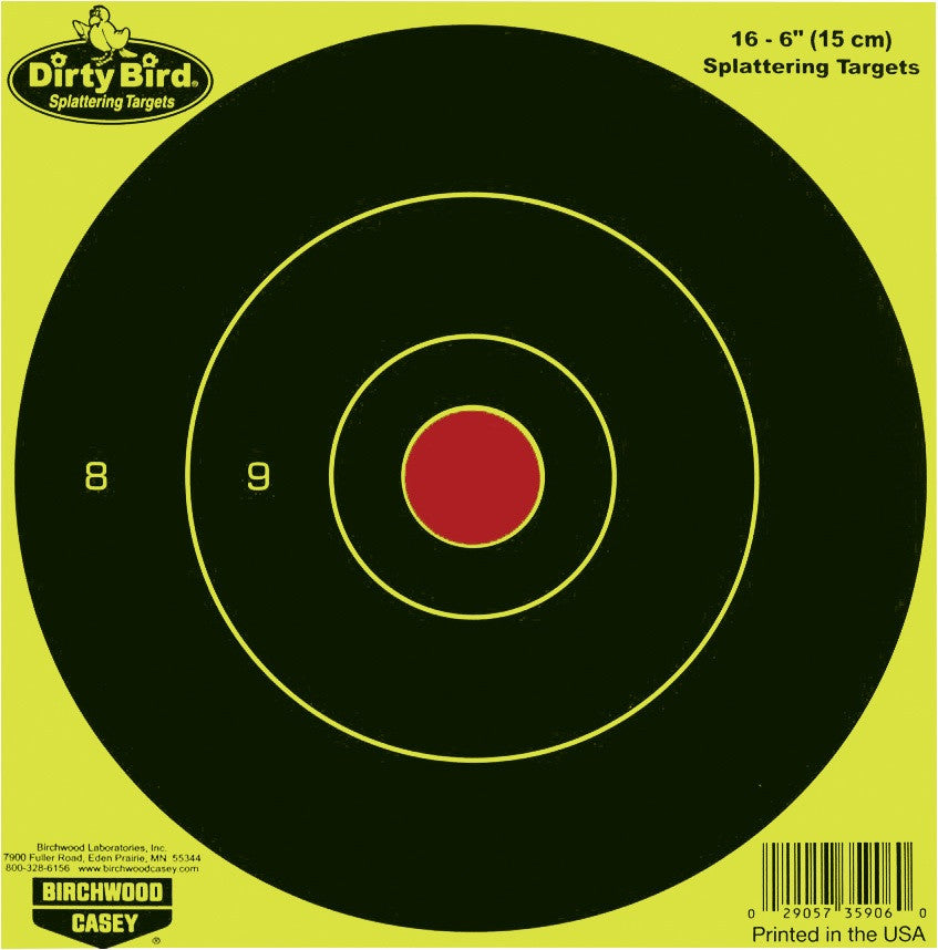 "Blanco Birchwood Casey Dirty Bird  Bull´s Eye Amarillo 6"" - Sportsguns"
