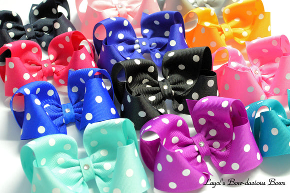 polka dot hair bows, polka dot boutique bows