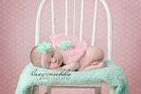 Pink Butterfly Wings with Mint Flower Headband - newborn photo prop