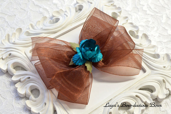Bow with flowers, brown bow, sheer hair bow, fall hair bows