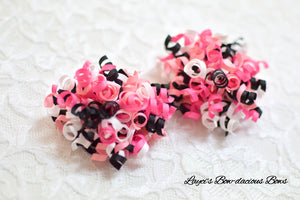 ballet hair bows, ballerina bows, dance bows, pink, white, black korkers