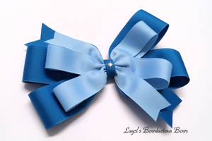 Blue Magic and Blue Layered Pinwheel Hair Bow