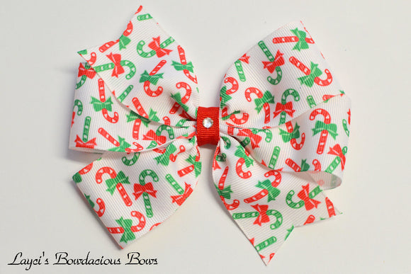 Candy Cane Pinwheel Hair Bow