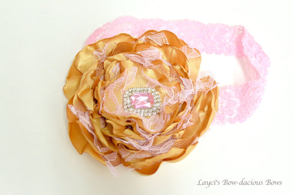 Golden Goddess Hair Flower or Flower Headband