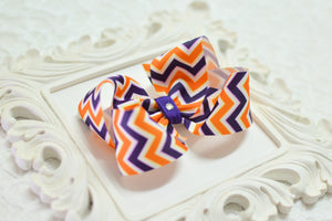 Large Purple and Gold Chevron Hair Bow - Ready to Ship - B4
