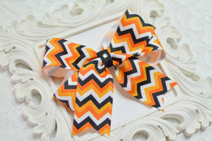halloween hair bows, chevron hair bows, tails down bows, boutique bows