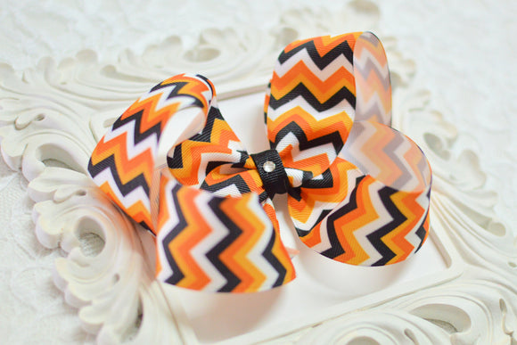 Extra Large Halloween Chevron Boutique Hair Bow - Ready to Ship -B3