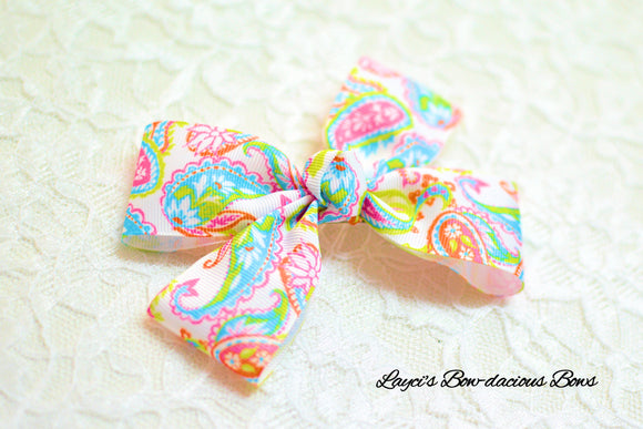 double bow tie hair bow, paisley hair bow, birght bows
