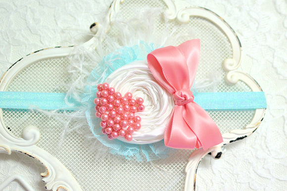 fancy baby headbands, fancy flower headbands, pink and blue headband