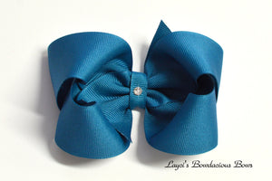 deep teal boutique hair bow, teal baby bow, large teal bow