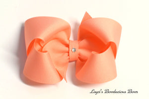 light coral boutique hair bow