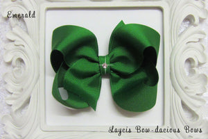 emerald green boutique hair bow, emerald baby bow, large emerald bow