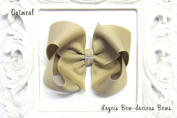 large oatmeal boutique hair bow, tan hair bow, school uniform bows